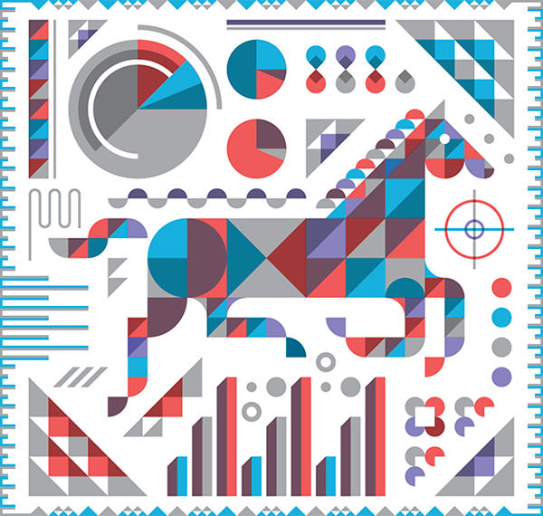 horse magazine Technology chart graph Metric animal modern geometric