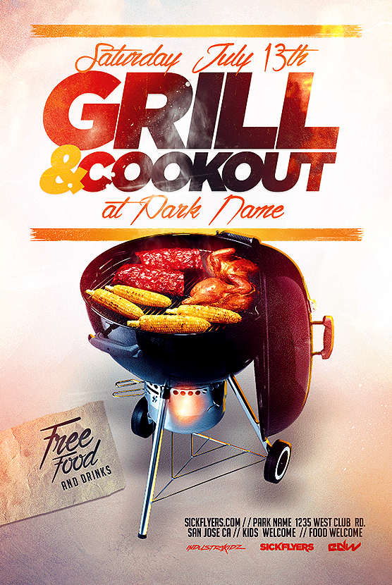 bbq cookout flyer template on behance