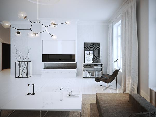 minimal minimalistic apartment Interior design ofdesign visual conceptual White monochrome black