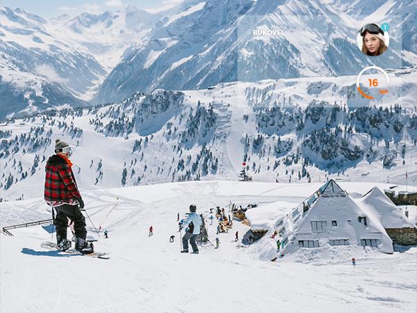 app mobile iphone application Snowboarding skiing UI teamride clean flat minimal flat ui Google glass google glass app