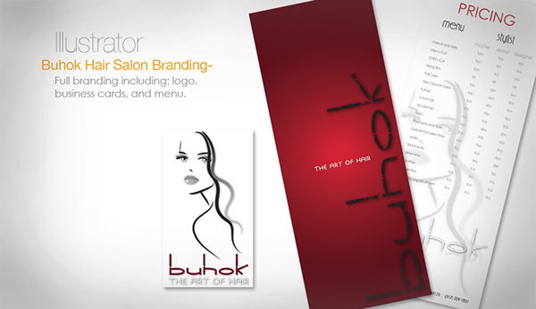 salon hair Buhok Business Cards menu