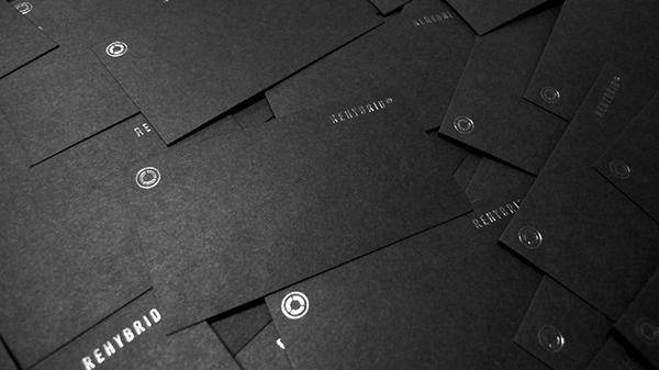 Name card black foil stamping minimalist