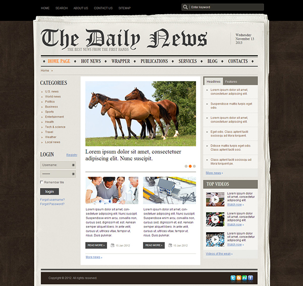 the daily news newspaper joomla template on behance