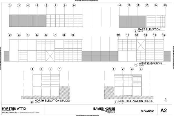 Eame's House Project - Autocad on Behance  Eame's Hous...