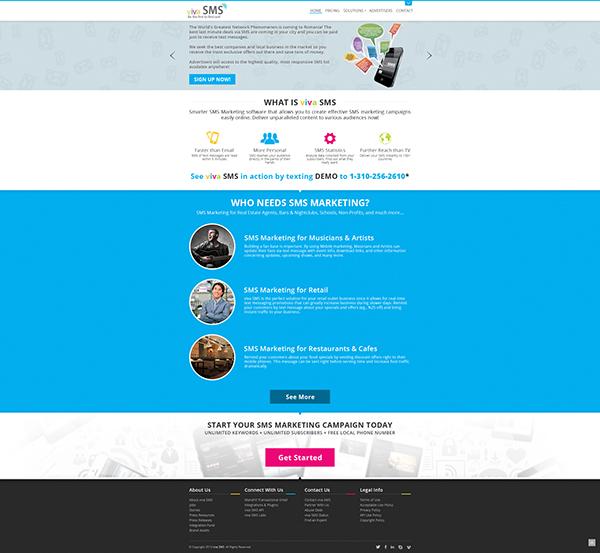VivaSMS concept design online marketing page ui design