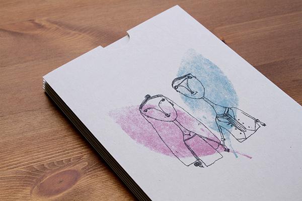 wedding Invitation print Mono groom bride card leaf pink blue design letter hand-made handmade