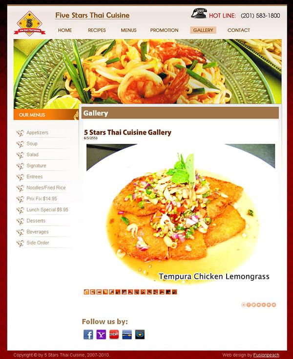 5stars thai restaurant website on behance for 5 star thai cuisine