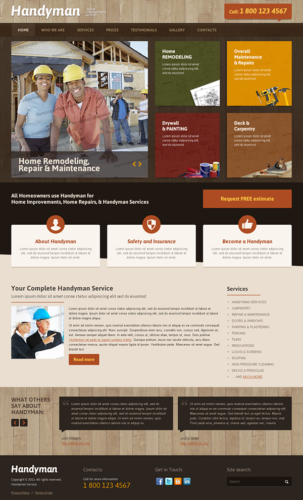 Handyman Home Improvement Service Bootstrap Template on Behance l37pqaVd