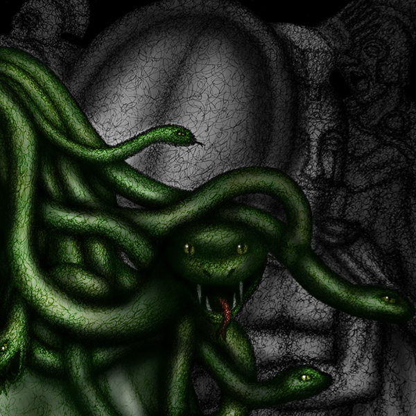 medusa victims scrawl fantasy mythology creatures mixed media