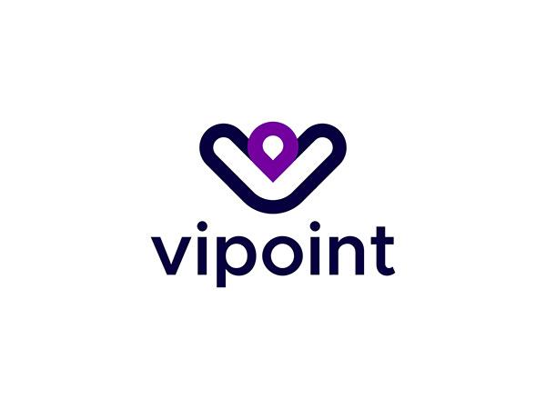 Vipoint - V letter & Location icon logo design.