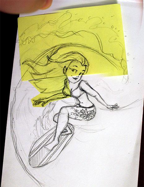 mermaid pirate surfer ladies women characters digital painting