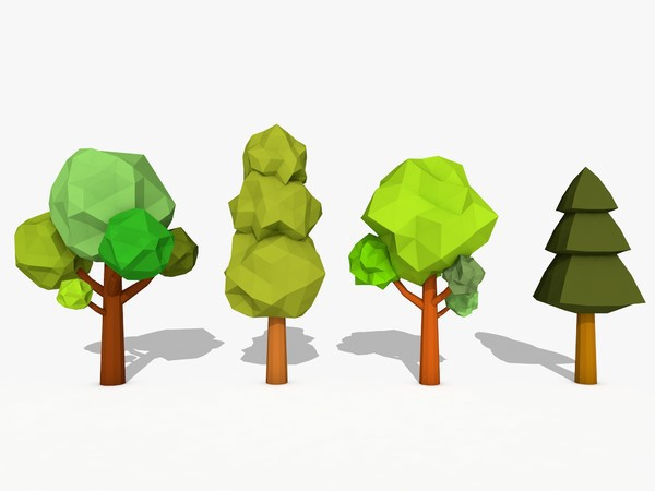 3D Model,Cartoon Trees Low Poly on Behance