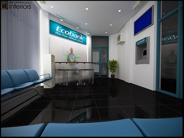 Interior visualization for ecobank accra ghana on behance for Interior decoration ghana