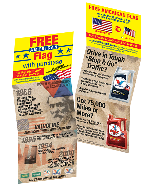 Promotional coupon for Valvoline motor oil coupons