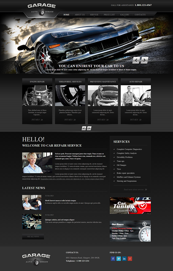 garage car repair service responsive wordpress template on behance