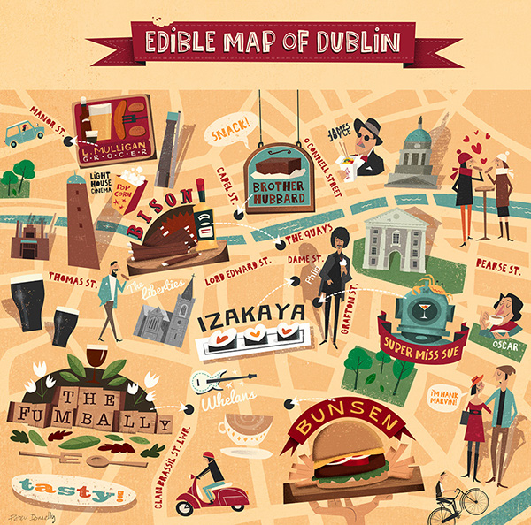 Character Design Jobs Nyc : Edible map of dublin on behance
