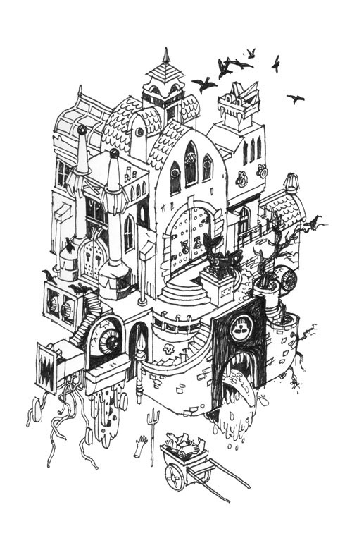 Mansion Drawing: Haunted Houses On Behance