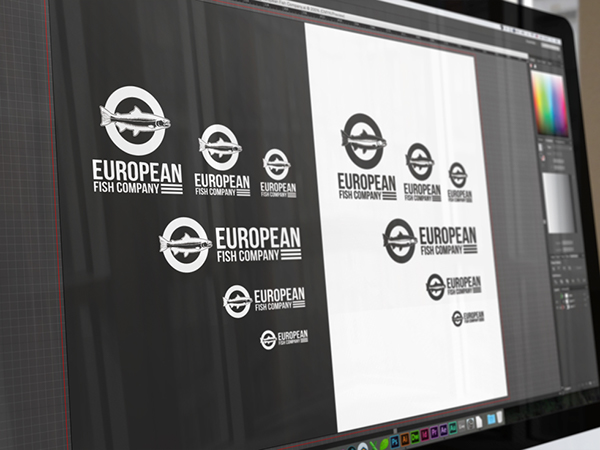 European fish company branding on pantone canvas gallery for European design firms