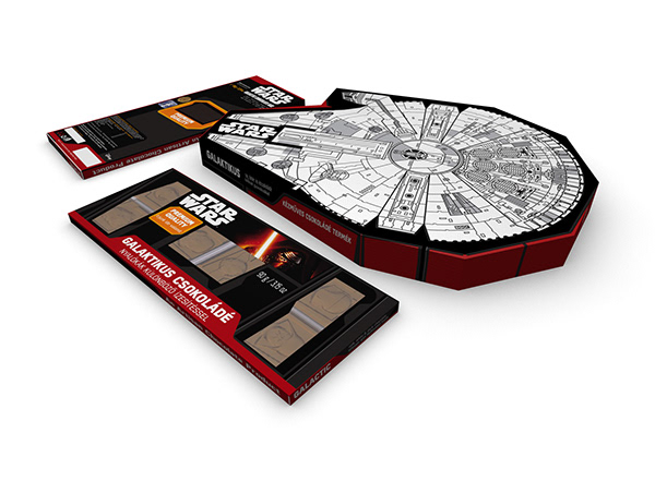 Millenium falcon 3D packaging models for chocopoint Star Wars chocolate specials