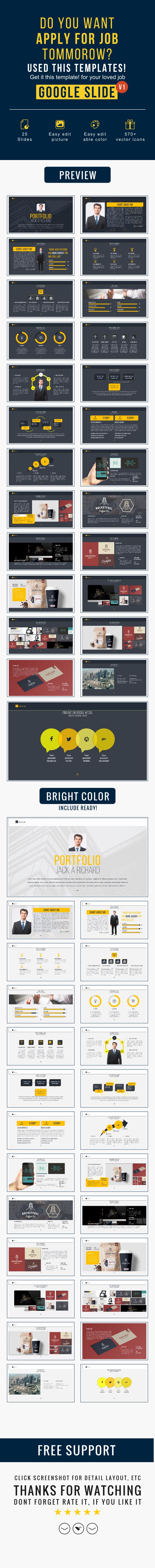 personal portfolio google slide template on Behance