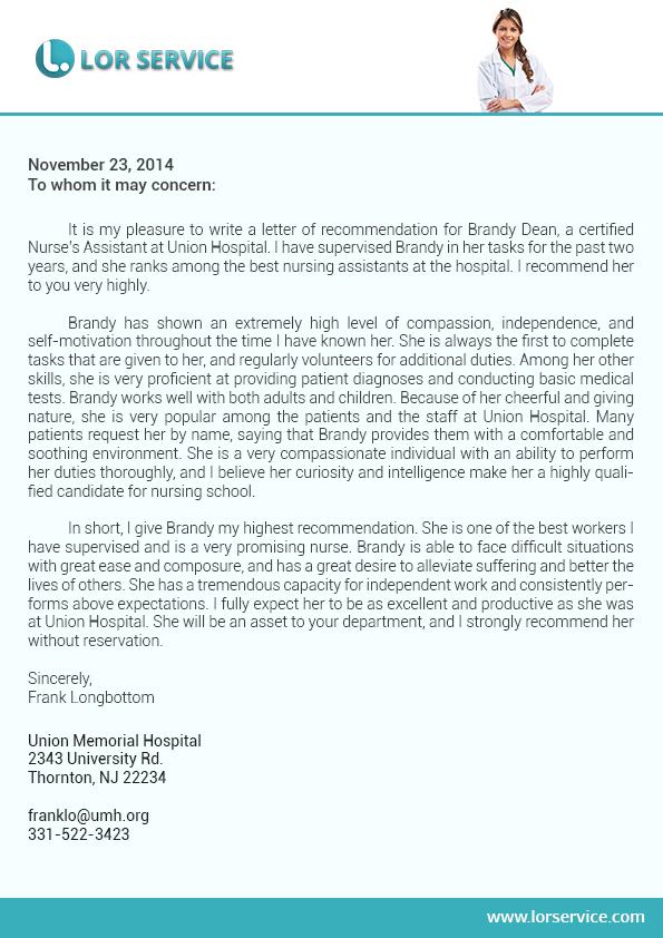 Nursing Letter Of Recommendation Sample On Behance