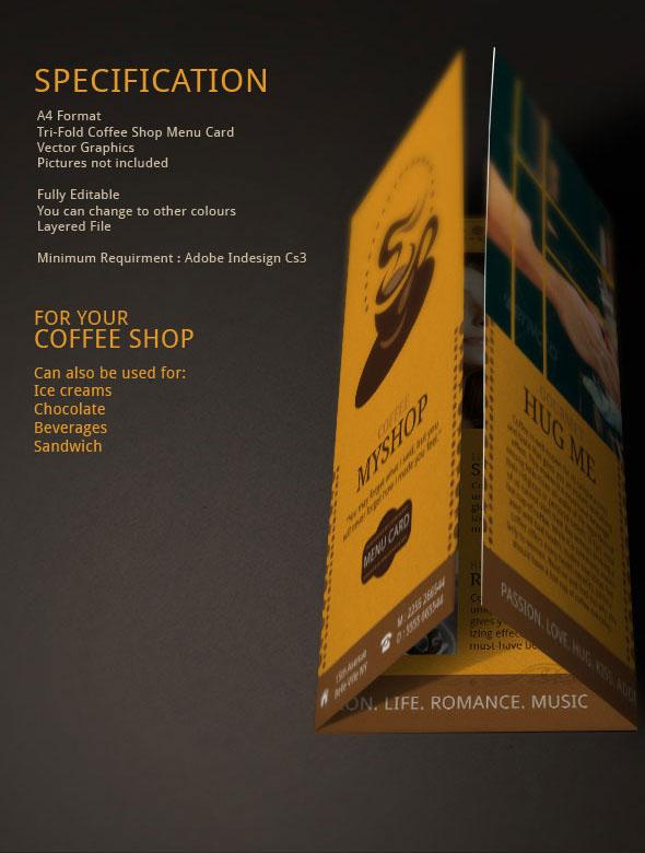 Coffee Shop Menu menu design Coffee brochure brochure design Coffee Brochure  coffee branding indesign template menu template tri fold brochure coffee brochures menu branding coffee beans restaurants