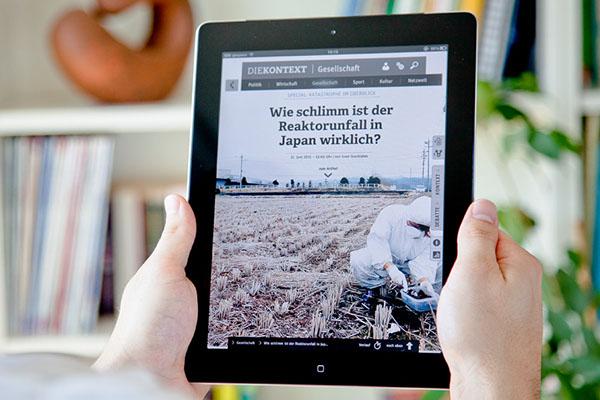 iPad news Zeitung nachrichten tablet-pc kontext diekontext querg feiter FH Aachen Kommunikationsdesign informationdesign journalismus verlag Digital Publishing