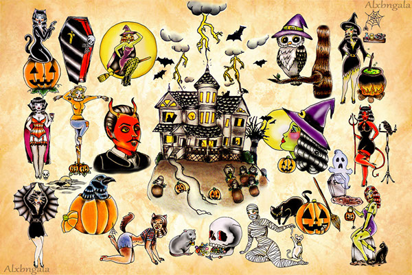 Halloween Tattoo Flash by:Alxbngala on Behance