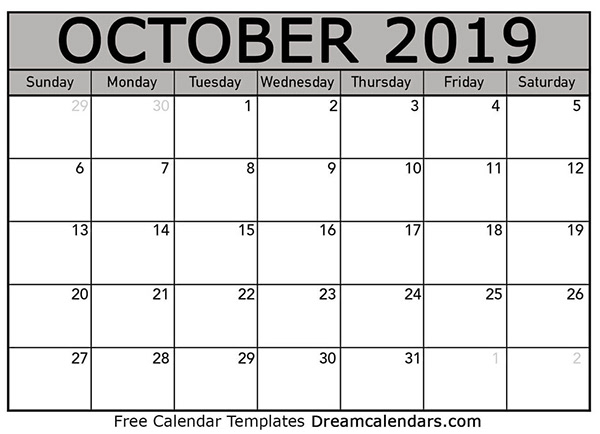 photograph regarding October Printable Calendar titled Oct 2019 Printable Calendar upon Pantone Canvas Gallery