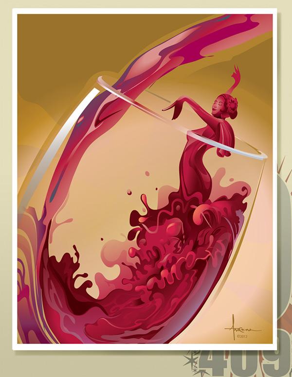arocena olo409 vector Volteo wine glass of wine flamenco dancer sexy spainish vintage
