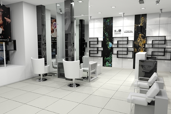 S a group beauty salon interior design on behance for Interior designs for beauty parlour