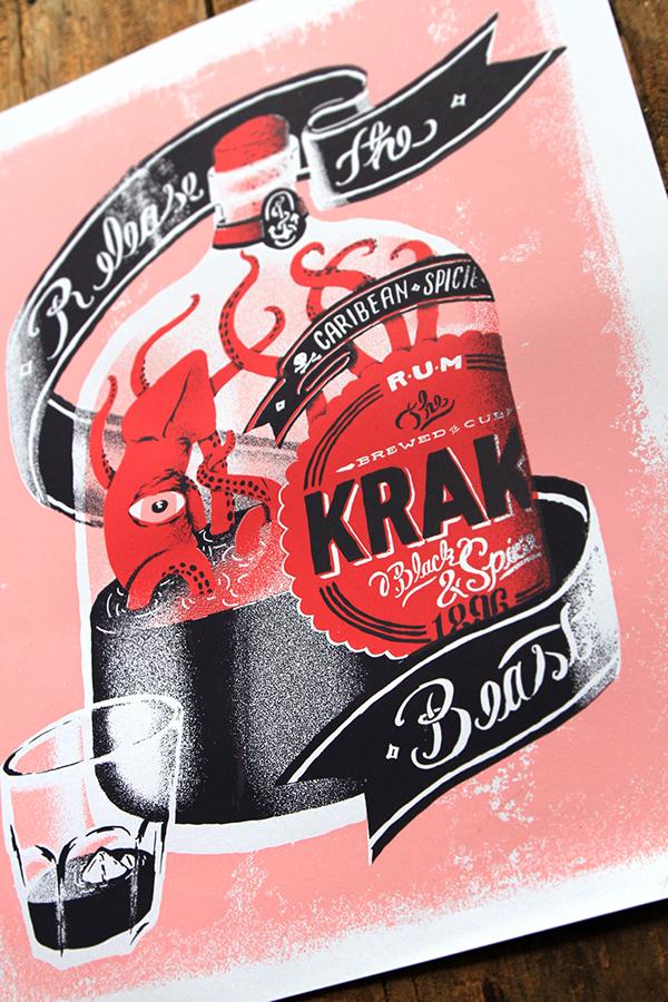 screenprint serigrafia sailors kraken sea mar navegantes calamar botella BOTLLE
