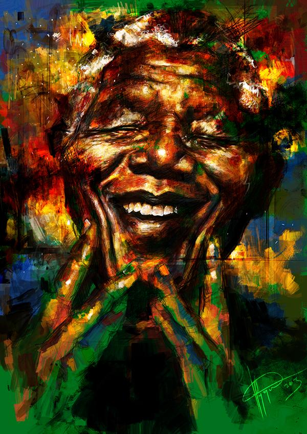 Nelson Mandela digital painting Portrait Painting