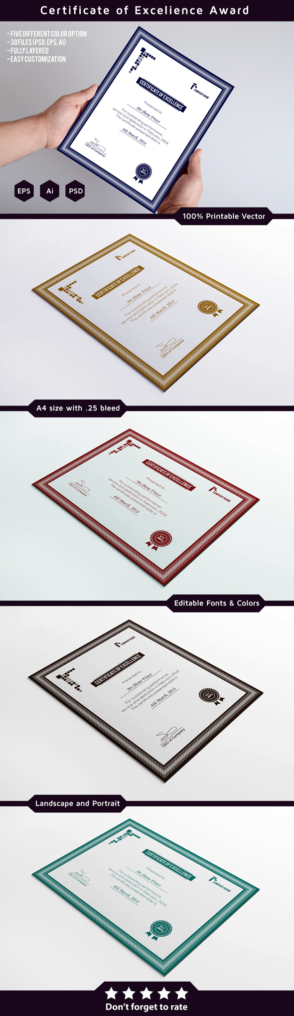 Award certificate template on behance certificate template its 100 printable and fully editable available in five color versions and three different file formats with vertical and yelopaper Images