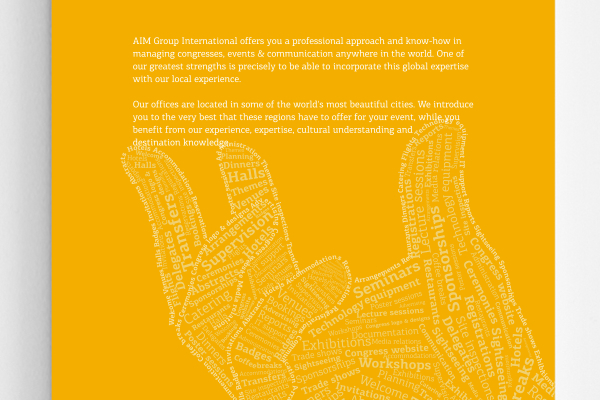 AIM Events congress hands text edited by hand identity type image