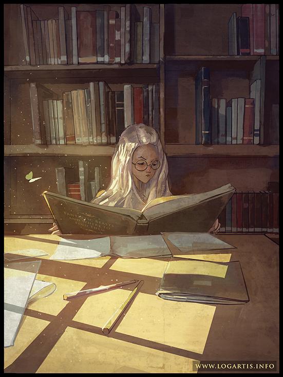 books girl logartis light Window bookshelf cute lineart