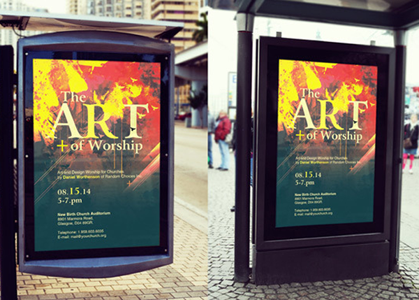 bus stop poster mockup template on behance
