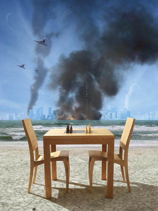 chess War beach Ocean science fiction