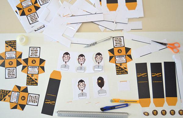 self-promotion pop-up business card Unique cool caricature