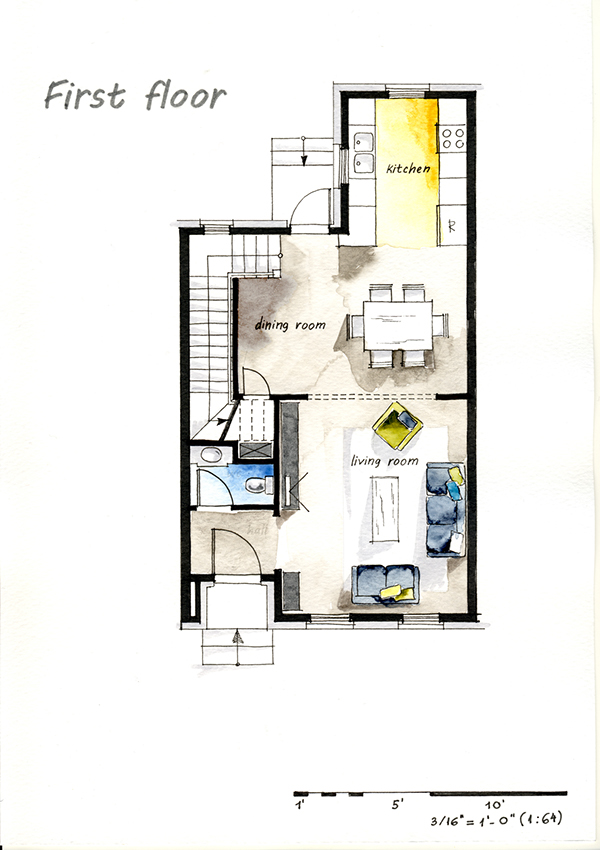 Real estate watercolor 2d floor plans part 2 on behance for Watercolor house plans