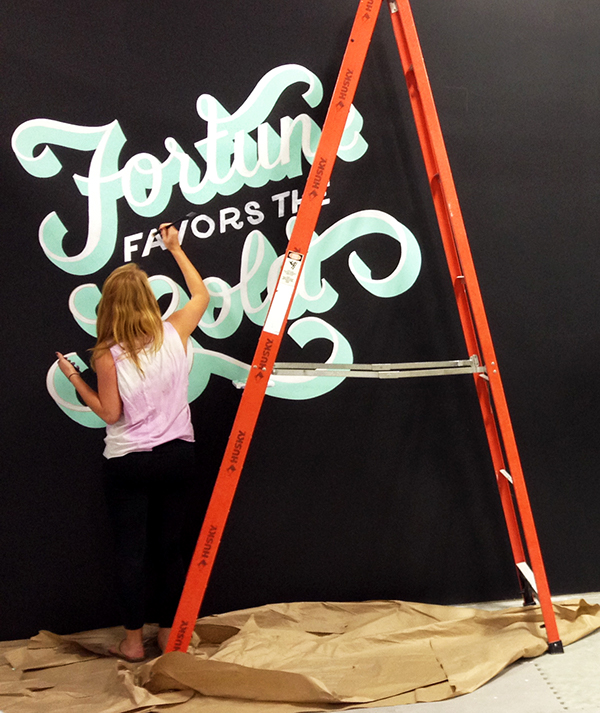 Typographic mural on massart portfolios for Ideo boston