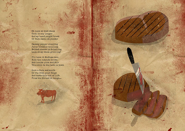steak Poetry  Layout magazine grunge blood Food