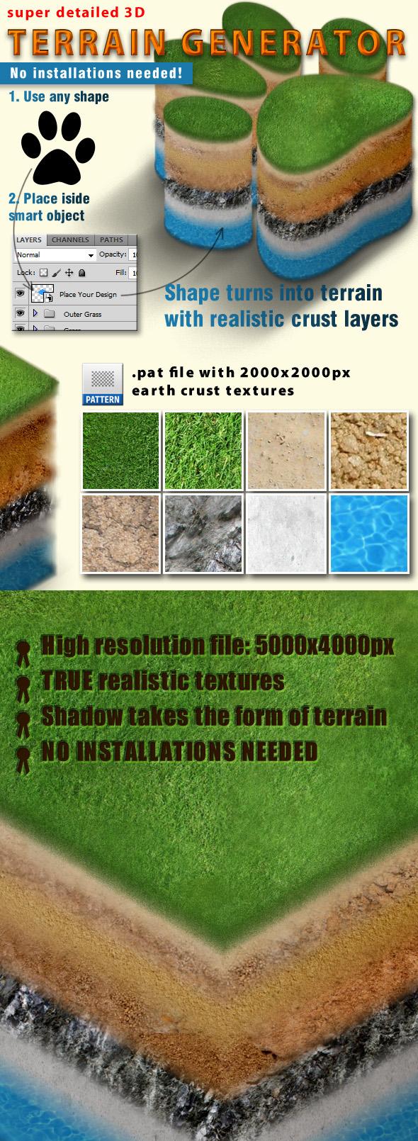 photoshop  plugin Mockup 3D terrain Generator detailed land map location Nature Patterns psd