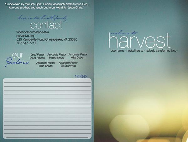 harvest assembly bulletin on behance