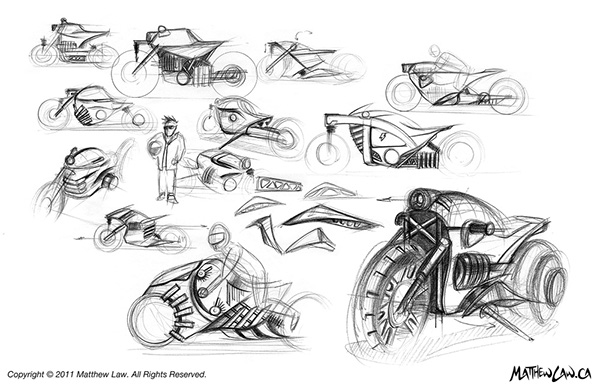 Matthew Law electric motorcycle Retro futuristic steam punk