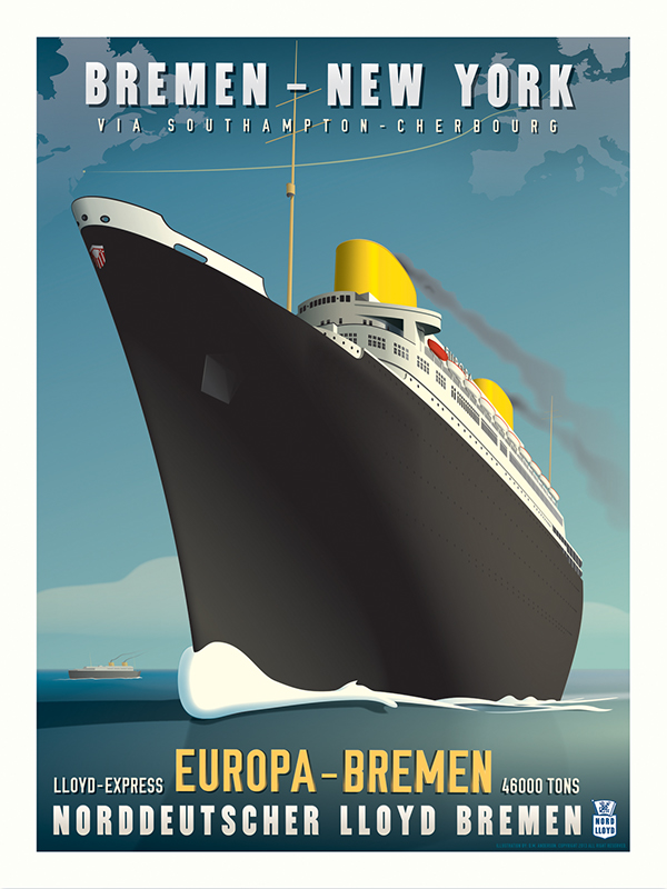 Ss europa art deco travel poster on behance for Life fashion bremen