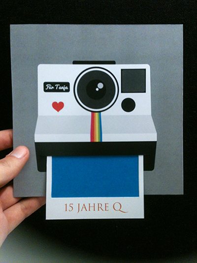 polaroid camera card on pantone canvas gallery