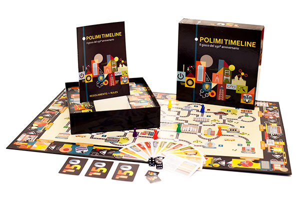 Polimi timeline boardgame illustration on pantone canvas for Polimi design