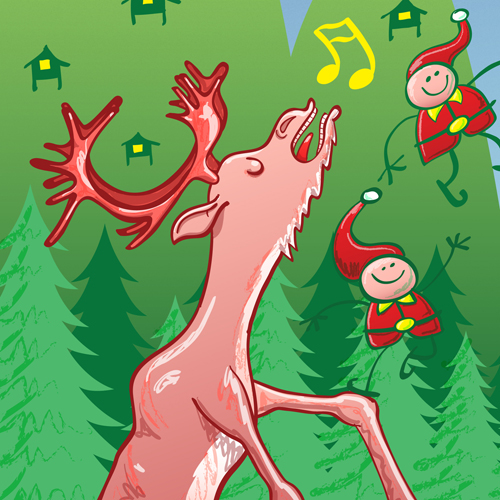 Singing reindeer detail