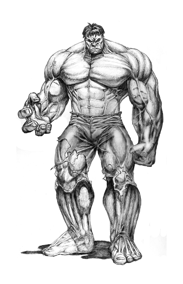 Illustration of the Hulk on Behance